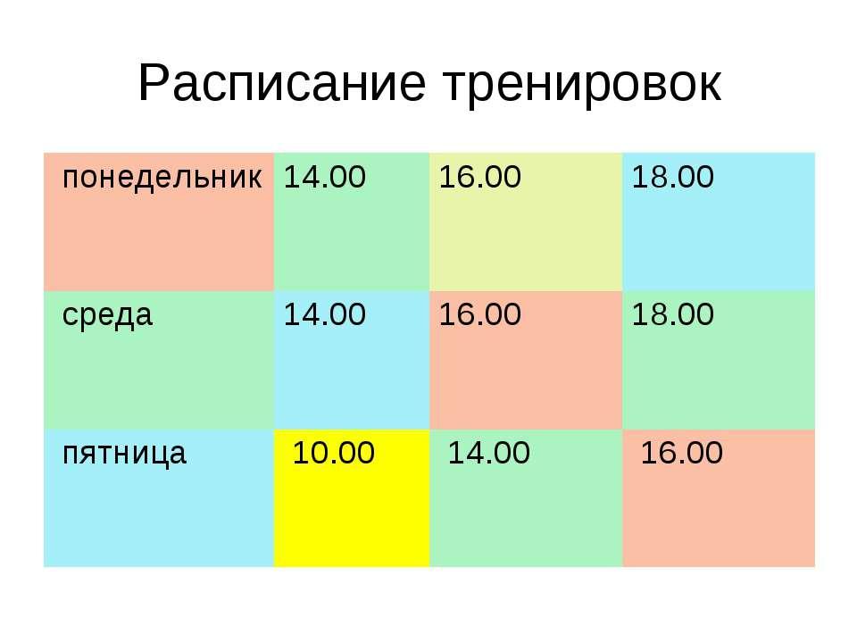 Расписание тренировок понедельник 14.00 16.00 18.00 среда 14.00 16.00 18.00 п...