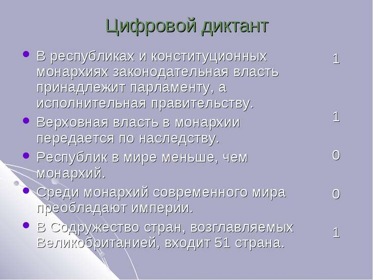 Цифровой диктант В республиках и конституционных монархиях законодательная вл...