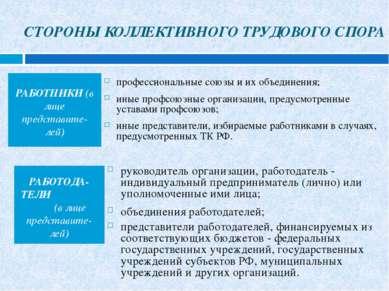 СТОРОНЫ КОЛЛЕКТИВНОГО ТРУДОВОГО СПОРА РАБОТНИКИ (в лице представите-лей) проф...