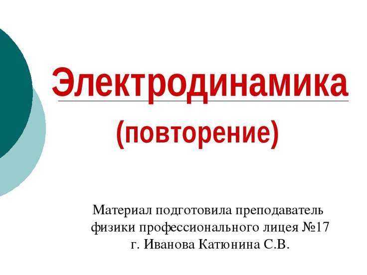 Электродинамика (повторение) Материал подготовила преподаватель физики профес...