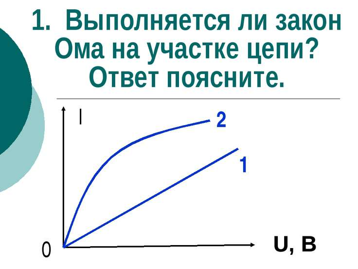 1. Выполняется ли закон Ома на участке цепи? Ответ поясните. I 0 2 1 U, В