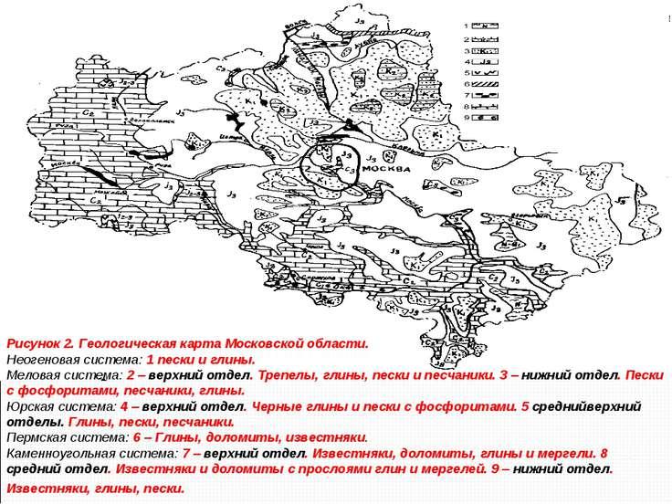 Рисунок 2. Геологическая карта Московской области. Неогеновая система: 1 песк...