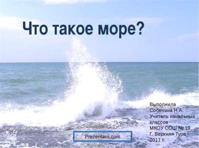 Что такое море? Выполнила Собенина Н.А. Учитель начальных классов МКОУ СОШ № ...