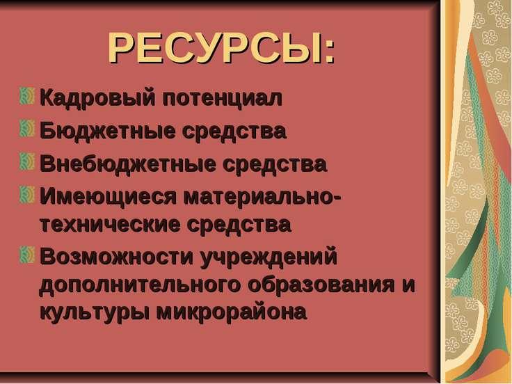 РЕСУРСЫ: Кадровый потенциал Бюджетные средства Внебюджетные средства Имеющиес...