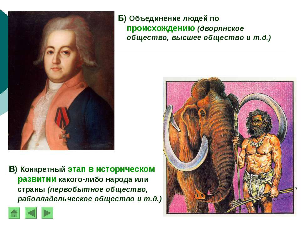 Б) Объединение людей по происхождению (дворянское общество, высшее общество и...