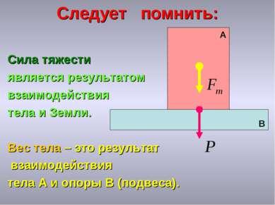 Следует помнить: Сила тяжести является результатом взаимодействия тела и Земл...