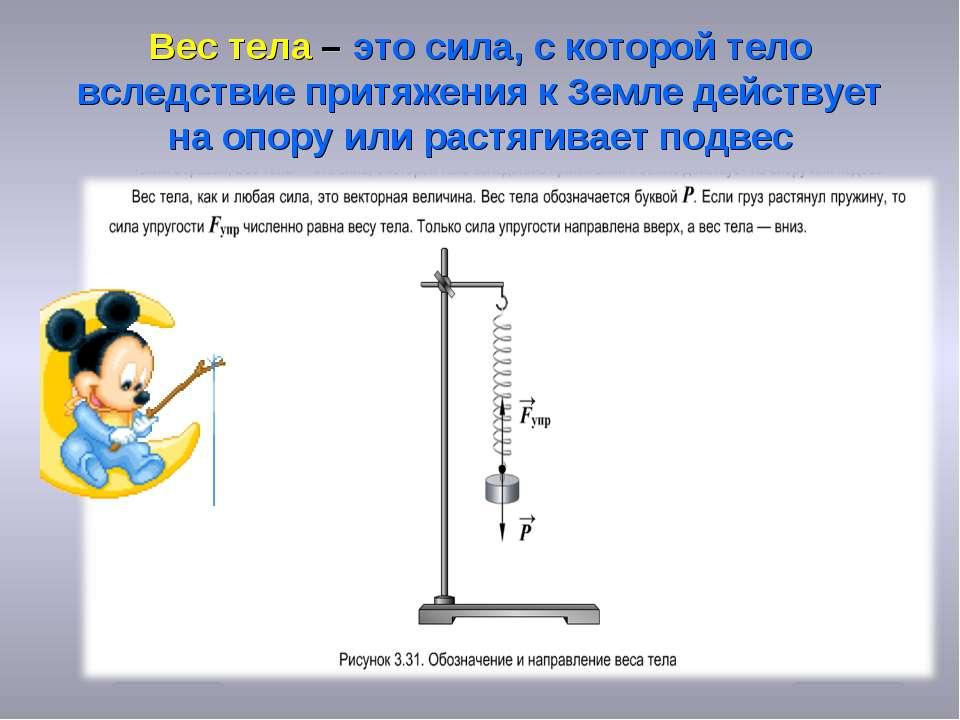 Вес тела – это сила, с которой тело вследствие притяжения к Земле действует н...