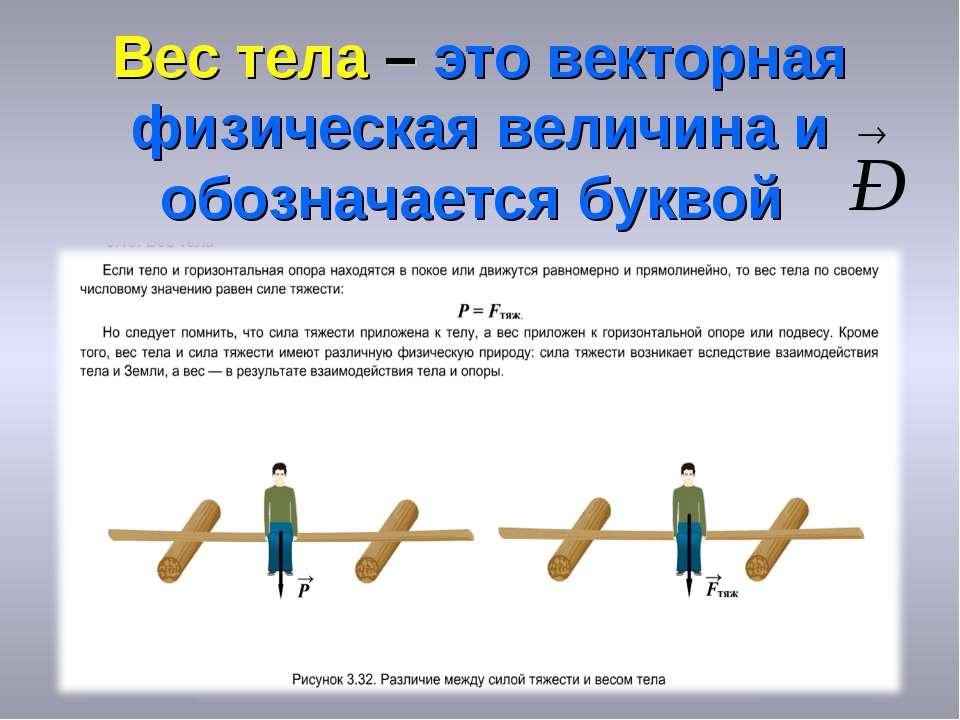Вес тела – это векторная физическая величина и обозначается буквой