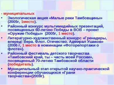 - муниципальных Экологическая акция «Малые реки Тамбовщины» (2005г, 1место). ...