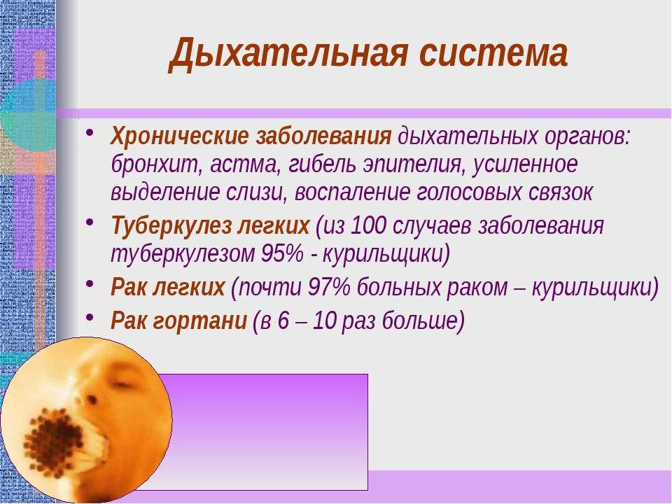 Дыхательная система Хронические заболевания дыхательных органов: бронхит, аст...