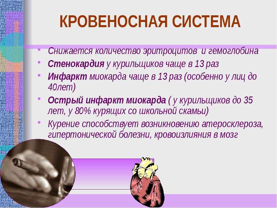 КРОВЕНОСНАЯ СИСТЕМА Снижается количество эритроцитов и гемоглобина Стенокарди...