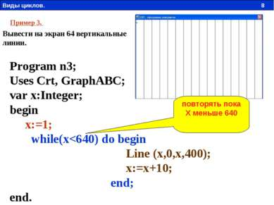 Пример 3. Вывести на экран 64 вертикальные линии. Program n3; Uses Crt, Graph...