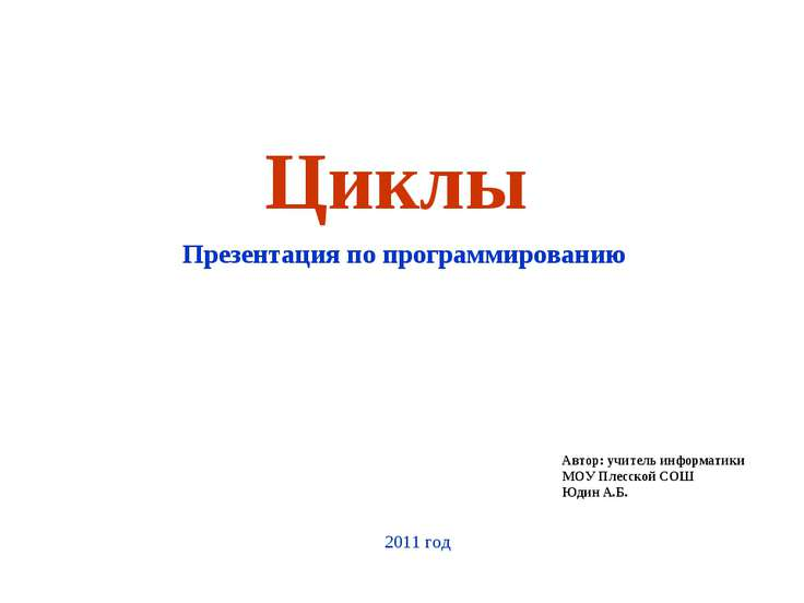 Циклы Презентация по программированию Автор: учитель информатики МОУ Плесской...
