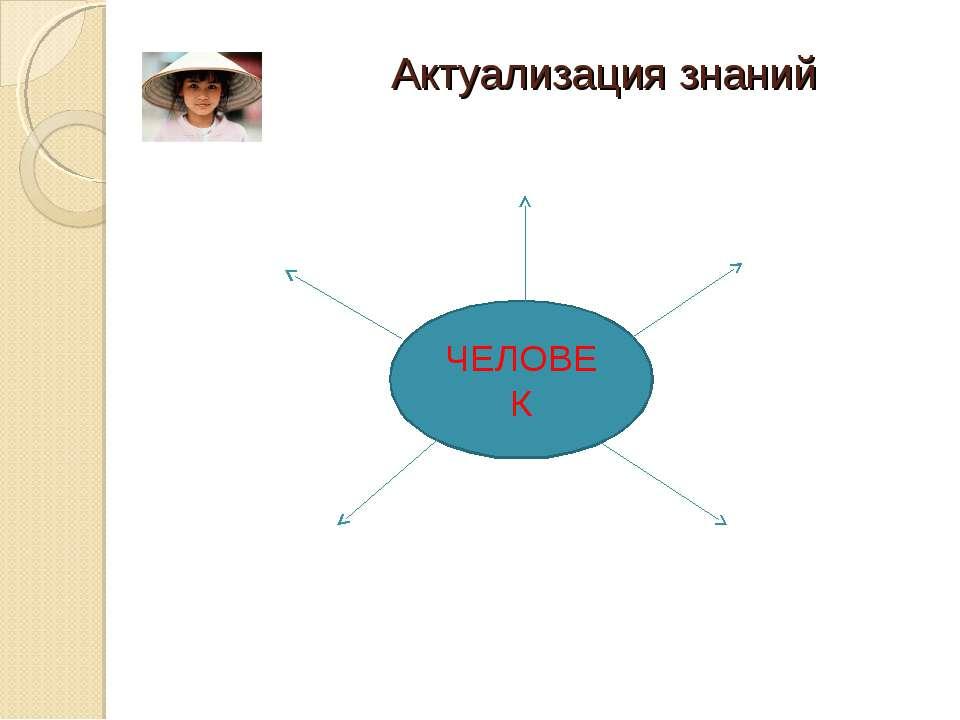 Актуализация знаний ЧЕЛОВЕК