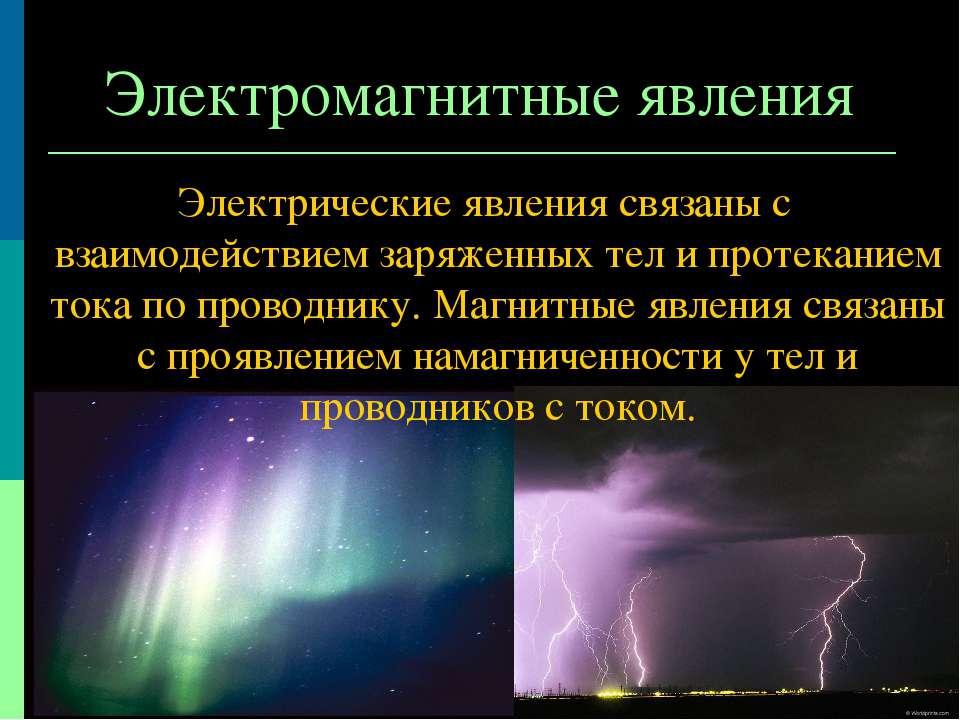 Электромагнитные явления Электрические явления связаны с взаимодействием заря...