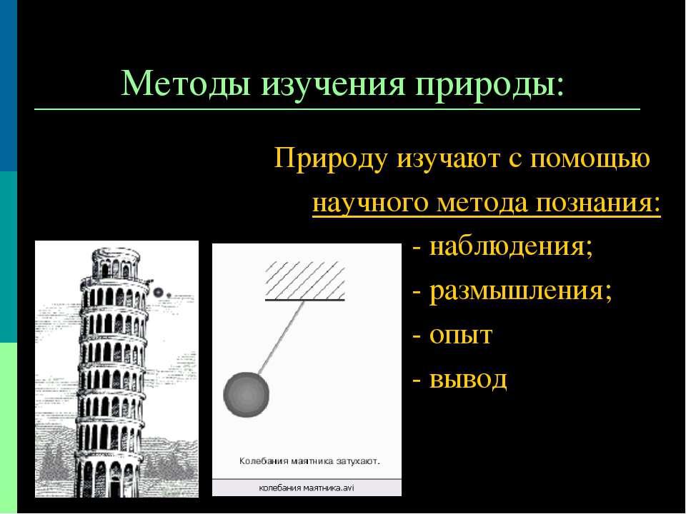Методы изучения природы: Природу изучают с помощью научного метода познания: ...