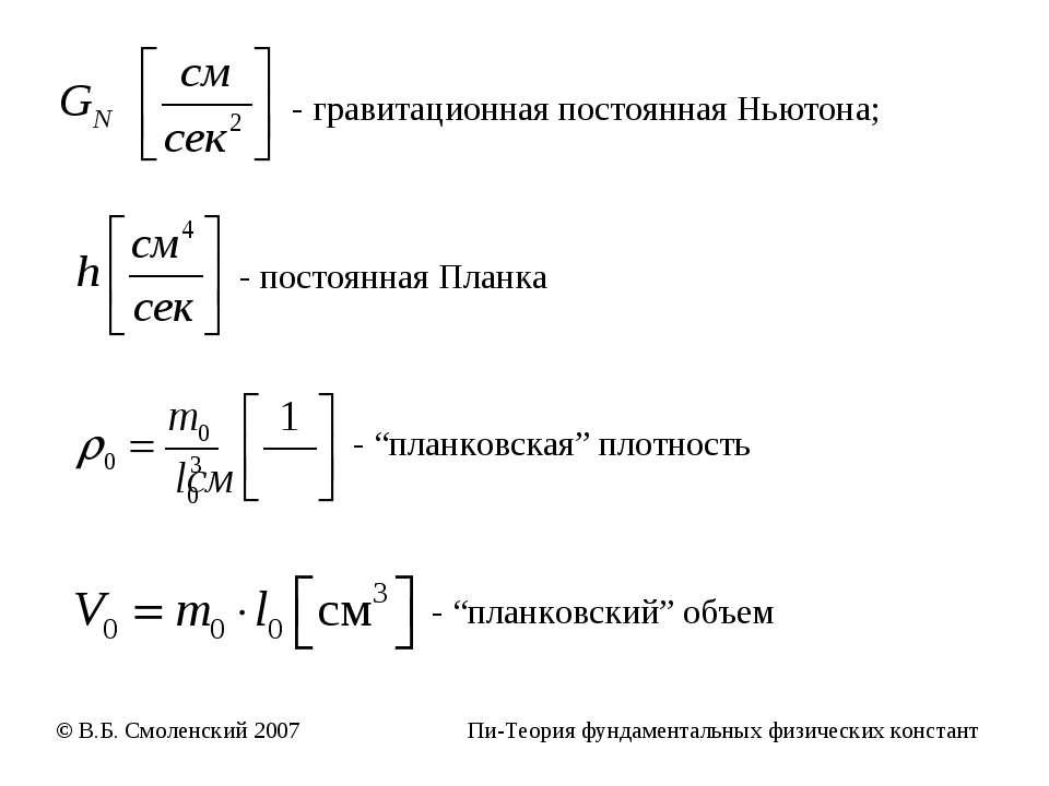 """- гравитационная постоянная Ньютона; - постоянная Планка - """"планковская"""" плот..."""