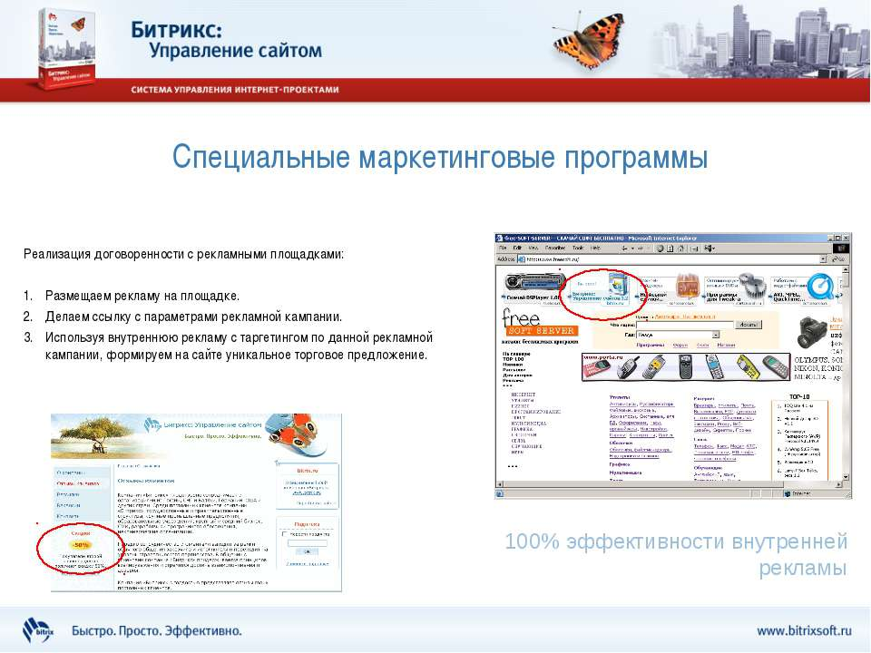 Специальные маркетинговые программы Реализация договоренности с рекламными пл...