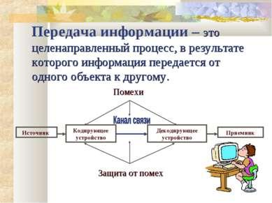 Передача информации – это целенаправленный процесс, в результате которого инф...