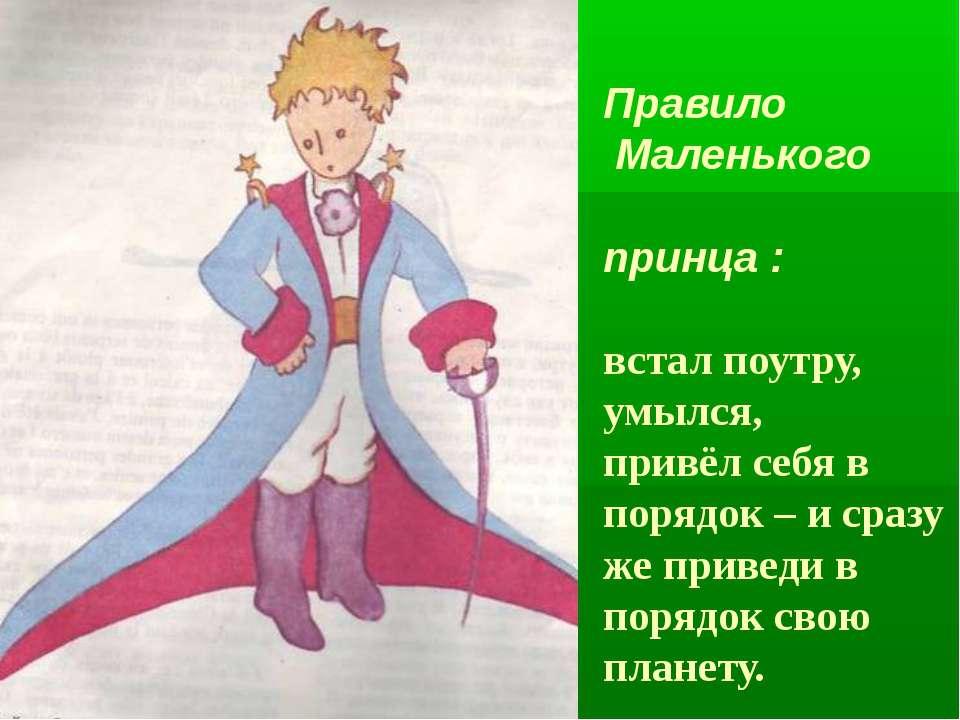 Правило Маленького принца : встал поутру, умылся, привёл себя в порядок – и с...