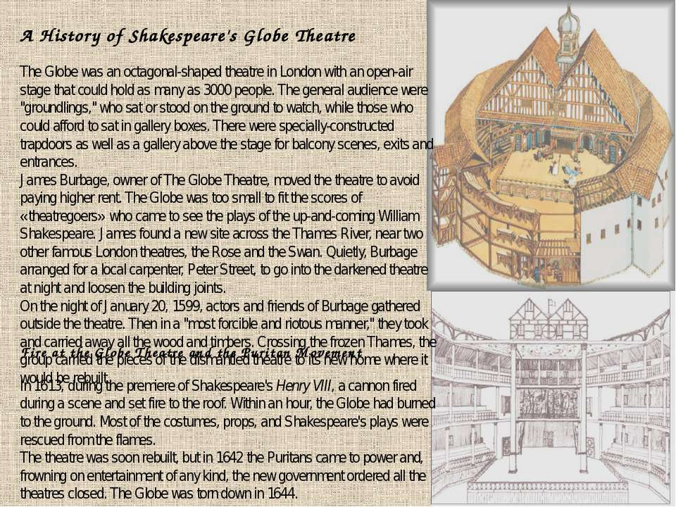 A History of Shakespeare's Globe Theatre The Globe was an octagonal-shaped th...