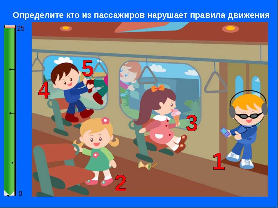 0 25 Определите кто из пассажиров нарушает правила движения