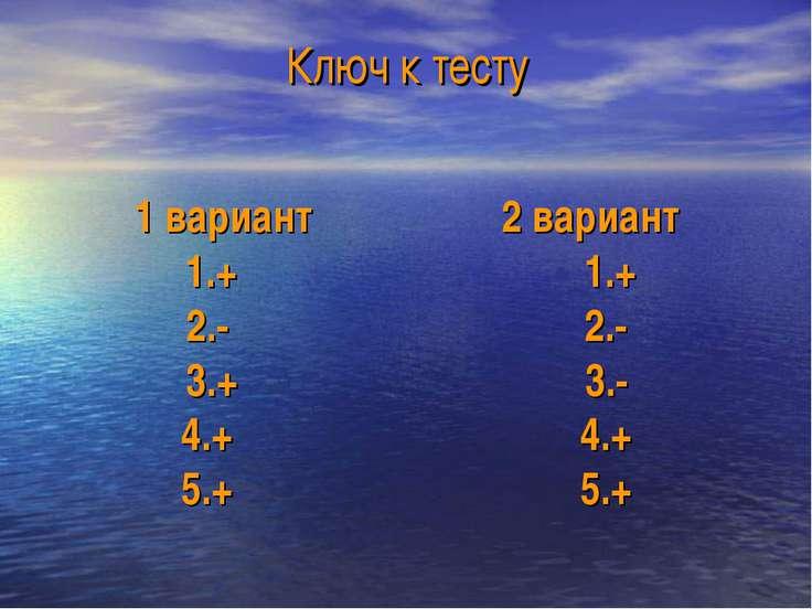 Ключ к тесту 1 вариант 2 вариант 1.+ 1.+ 2.- 2.- 3.+ 3.- 4.+ 4.+ 5.+ 5.+