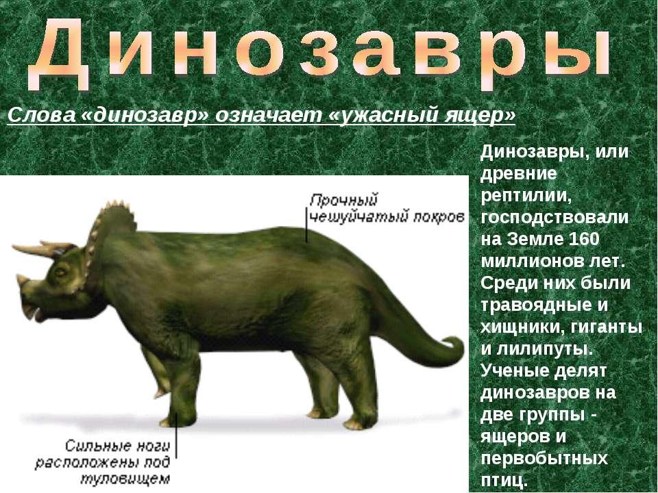 Динозавры, или древние рептилии, господствовали на Земле 160 миллионов лет. С...
