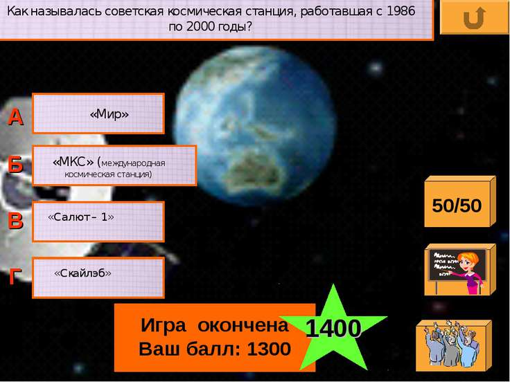 Как называлась советская космическая станция, работавшая с 1986 по 2000 годы?...