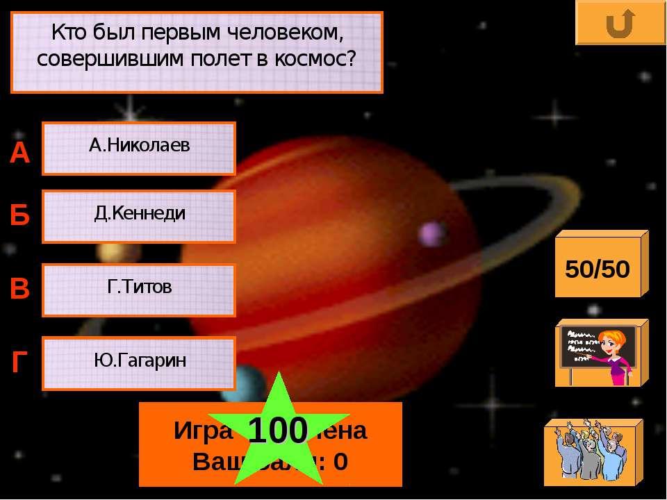 Кто был первым человеком, совершившим полет в космос? А.Николаев Д.Кеннеди Г....