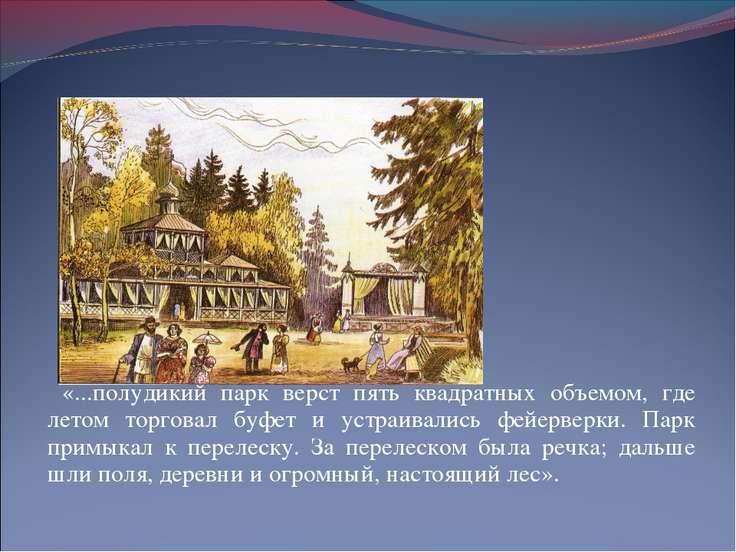 г.Вятка Загородный парк «...полудикий парк верст пять квадратных объемом, где...