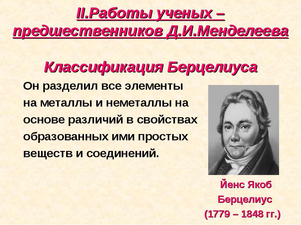 II.Работы ученых – предшественников Д.И.Менделеева Классификация Берцелиуса О...