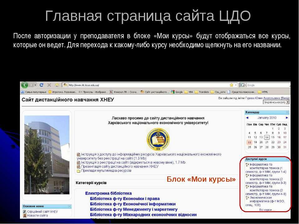 Главная страница сайта ЦДО После авторизации у преподавателя в блоке «Мои кур...