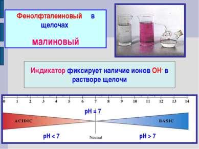 Фенолфталеиновый в щелочах малиновый Индикатор фиксирует наличие ионов ОН- в ...