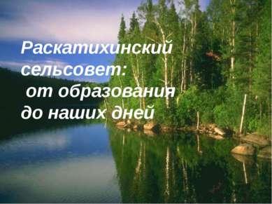 Раскатихинский сельсовет: от образования до наших дней