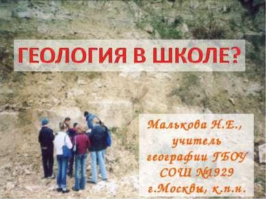 Малькова Н.Е., учитель географии ГБОУ СОШ №1929 г.Москвы, к.п.н.