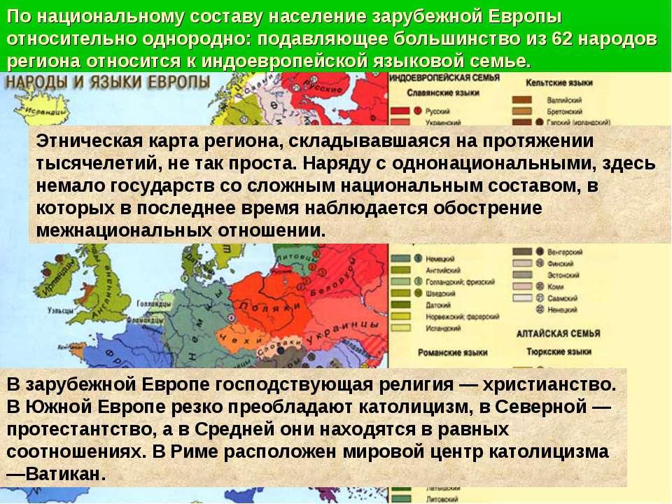 По национальному составу население зарубежной Европы относительно однородно: ...