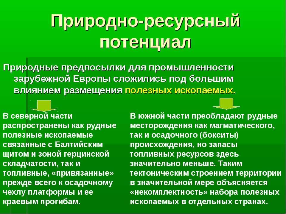 Природно-ресурсный потенциал Природные предпосылки для промышленности зарубеж...