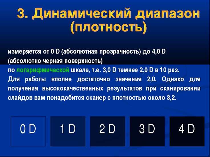 измеряется от 0 D (абсолютная прозрачность) до 4,0 D (абсолютно черная поверх...