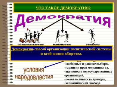ЧТО ТАКОЕ ДЕМОКРАТИЯ? -свободные и равные выборы, -гарантии прав меньшинства,...