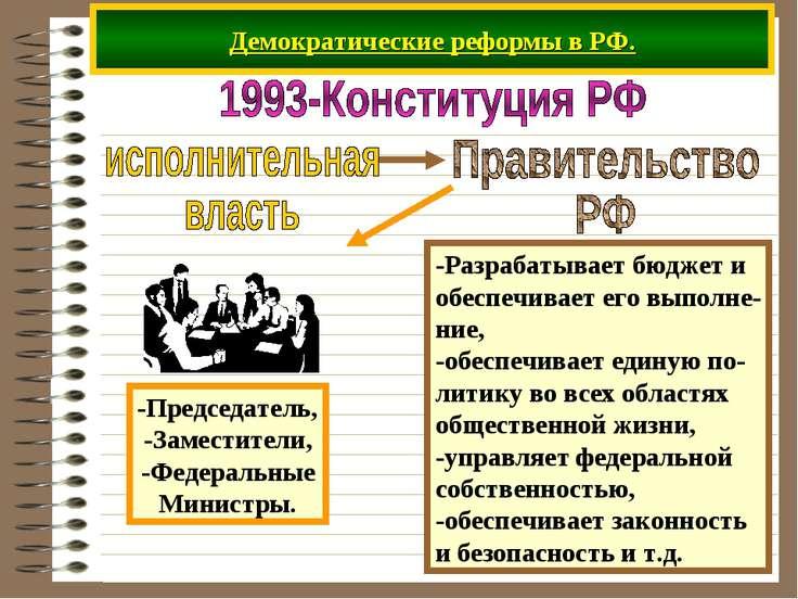 Демократические реформы в РФ. -Разрабатывает бюджет и обеспечивает его выполн...