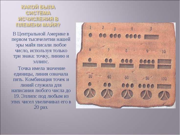 В Центральной Америке в первом тысячелетии нашей эры майя писали любое число,...
