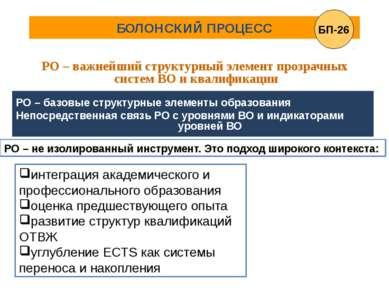 БОЛОНСКИЙ ПРОЦЕСС РО – важнейший структурный элемент прозрачных систем ВО и к...