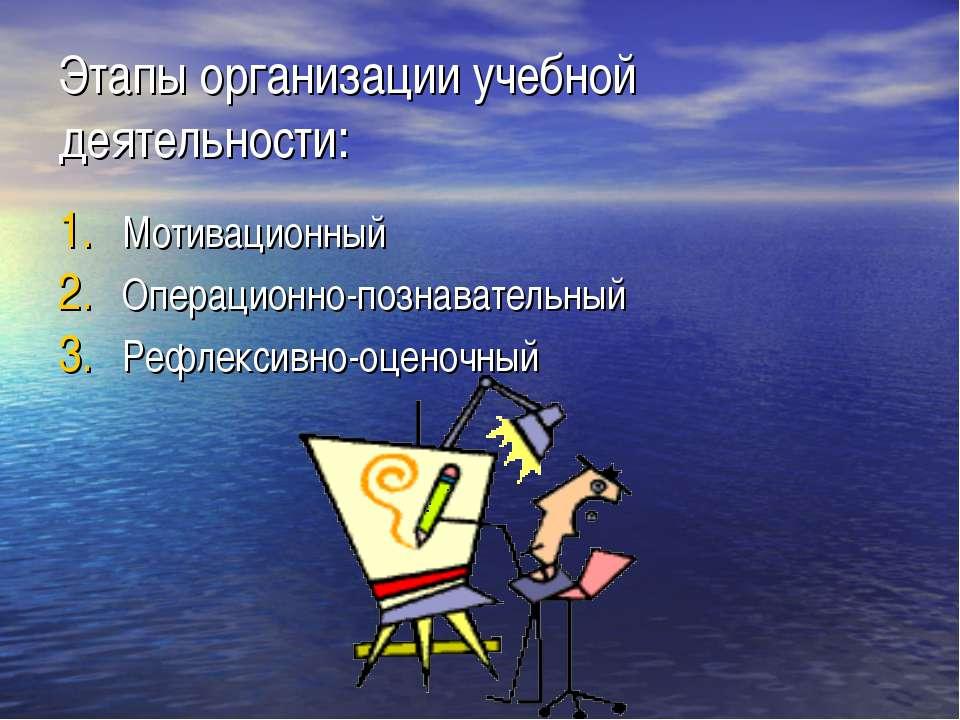 Этапы организации учебной деятельности: Мотивационный Операционно-познаватель...