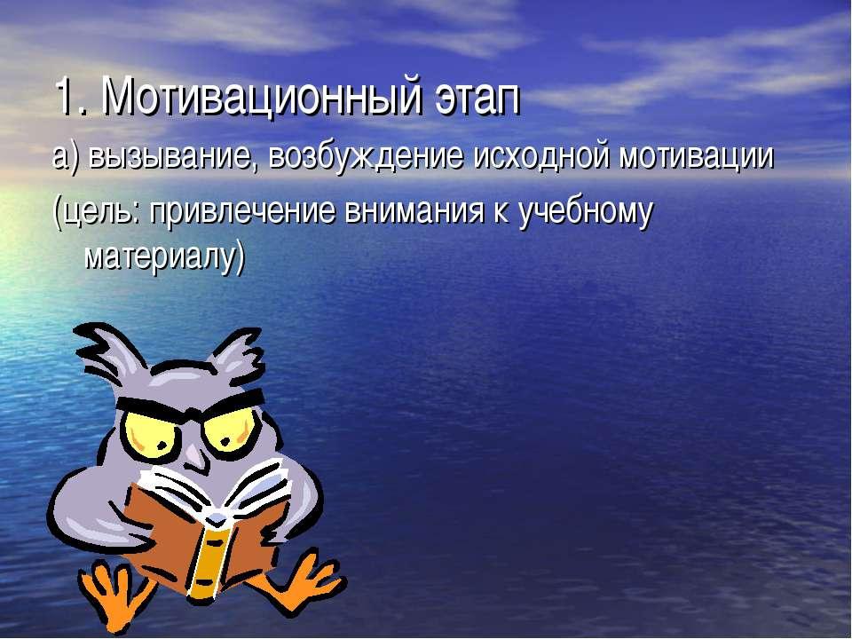 1. Мотивационный этап а) вызывание, возбуждение исходной мотивации (цель: при...