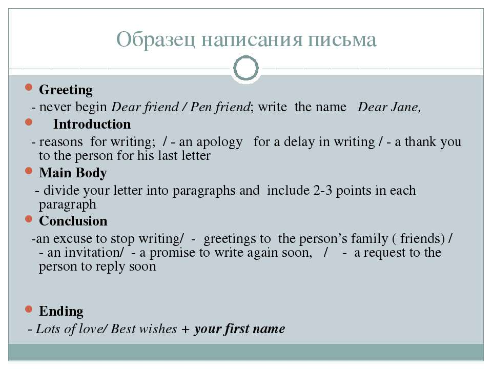 Образец написания письма Greeting - never begin Dear friend / Pen friend; wri...