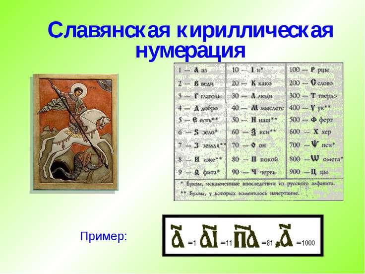 Славянская кириллическая нумерация Пример: