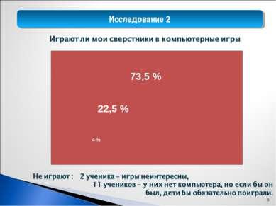 Исследование 2 73,5 % 26,5 % 22,5 % 73,5 % 4 % *