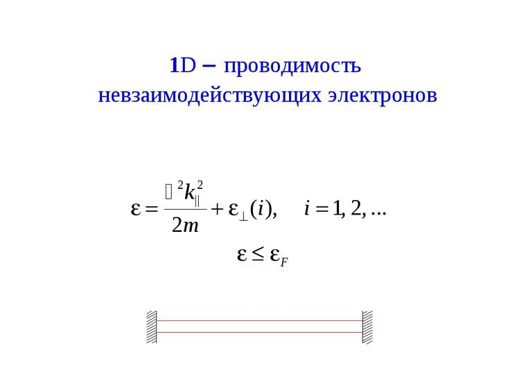 1D - проводимость невзаимодействующих электронов