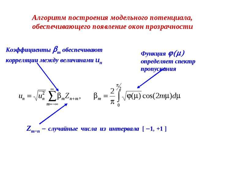 Zm+n - случайные числа из интервала [ -1, +1 ] Функция j(m) определяет спектр...